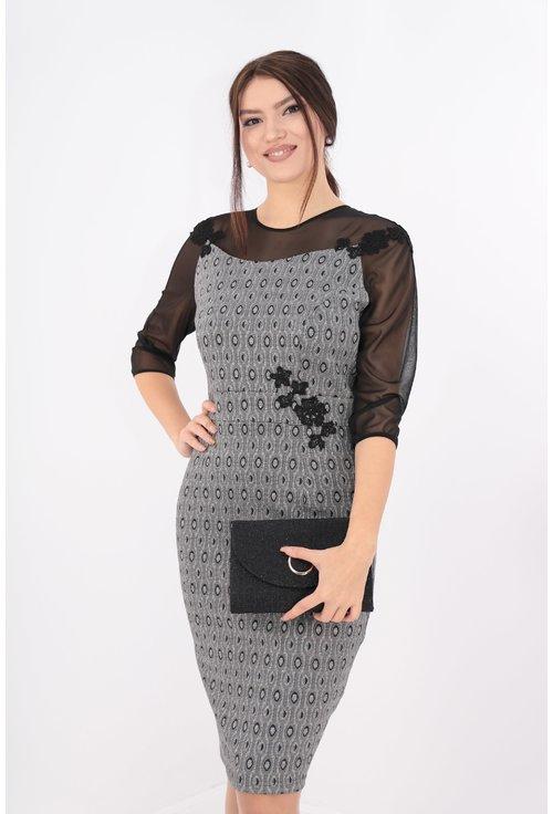 Rochie din brocard argintiu cu negru