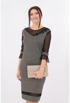Rochie din brocard negru cu insertii aurii