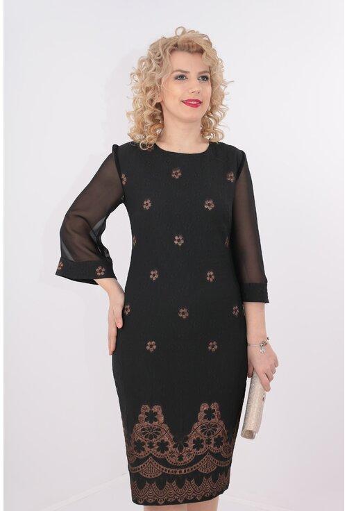 Rochie din brocard negru cu maneci din voal