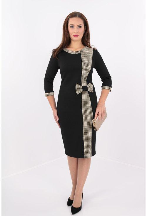 Rochie din brocard negru si ivory cu funda maxi
