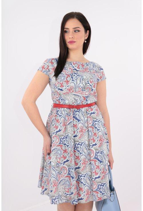 Rochie din bumbac imprimat cu rosu si albastru