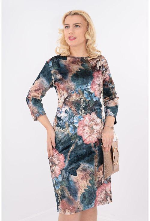 Rochie din catifea albastra cu desen floral