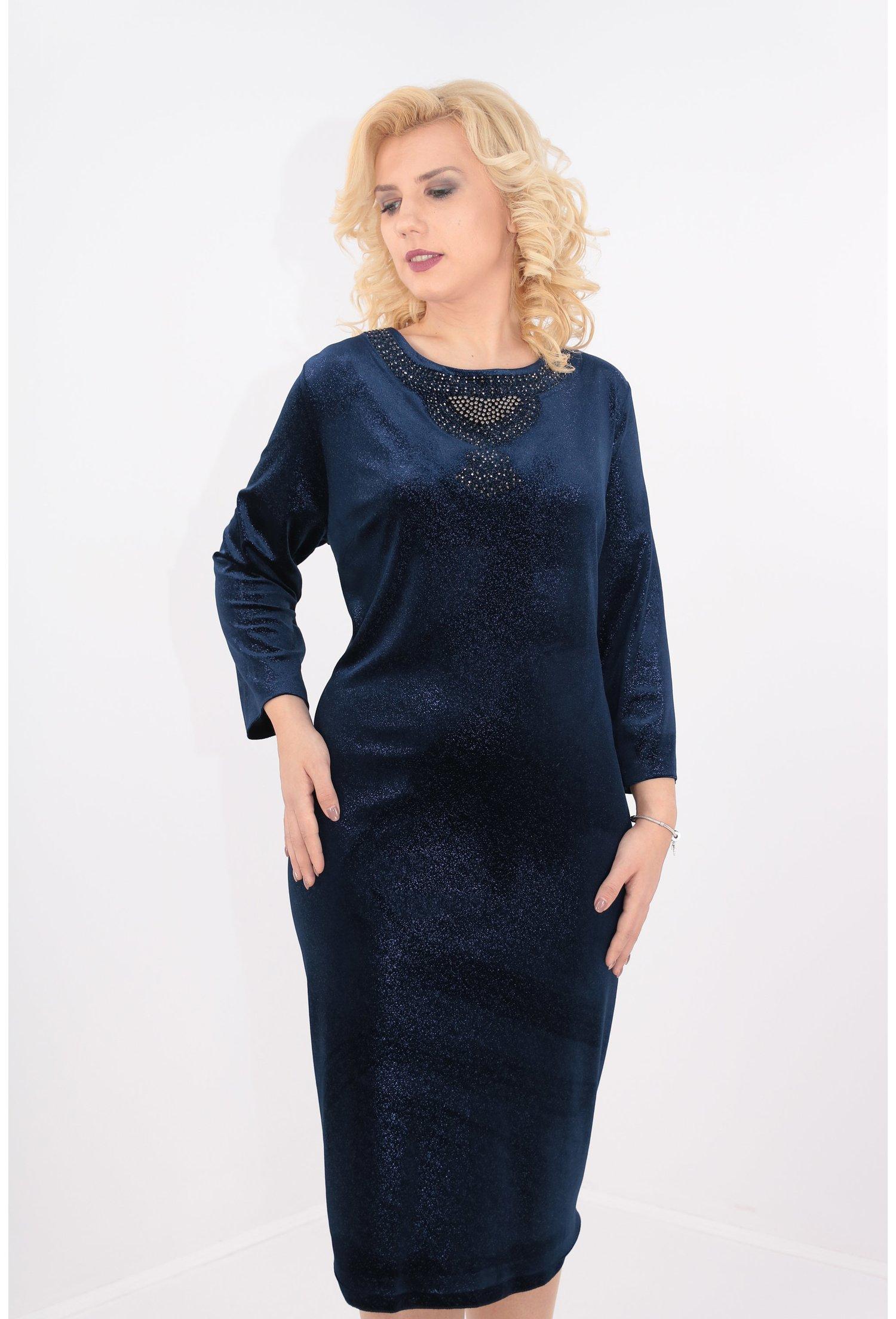 Rochie din catifea elastica bleumarin
