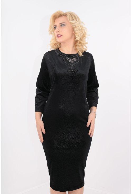 Rochie din catifea elastica neagra