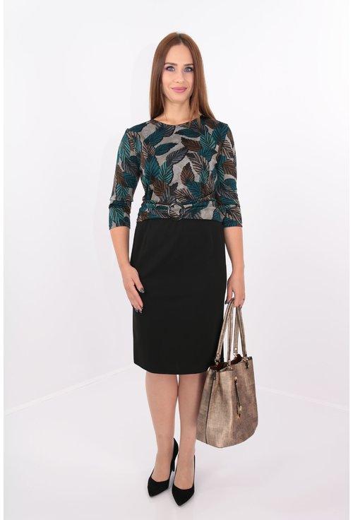 Rochie din jerse imprimat cu frunze verzi