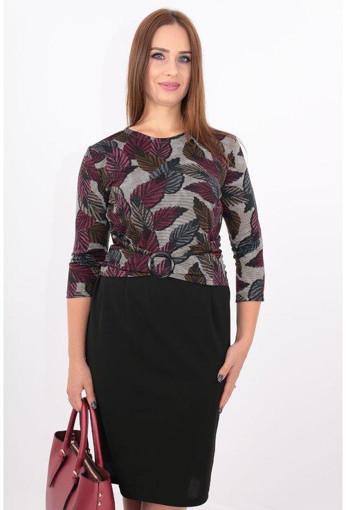 Rochie din jerse imprimat cu frunze violet
