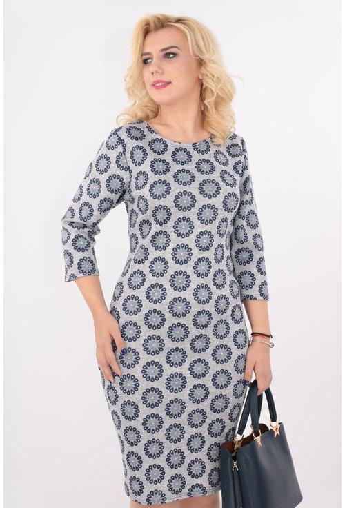 Rochie din jerse imprimat gri cu bleumarin