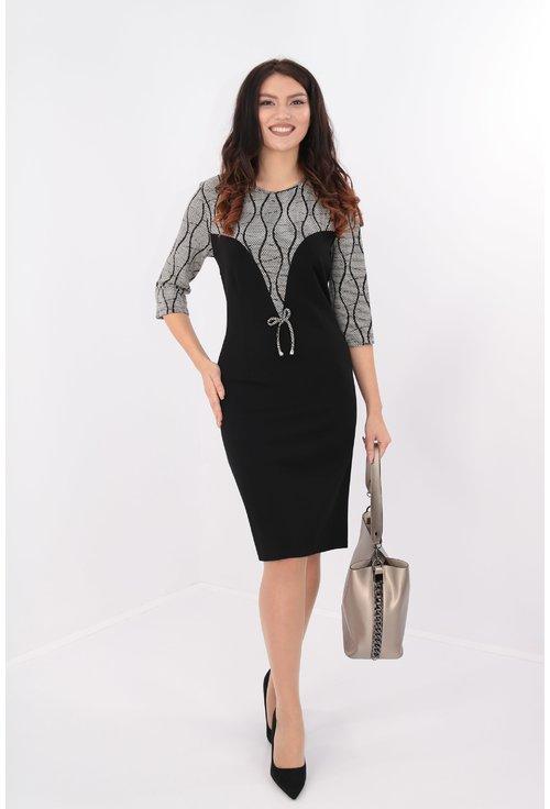 Rochie din jerse negru cu brocard elastic alb si negru