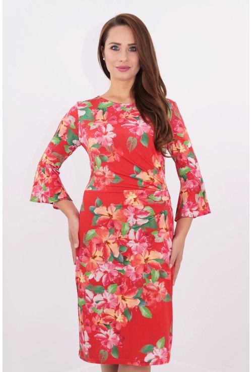 Rochie din jerse rosu cu print floral multicolor