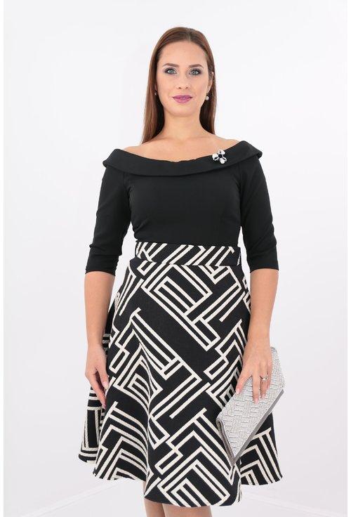 Rochie din stofa si brocard alb cu negru