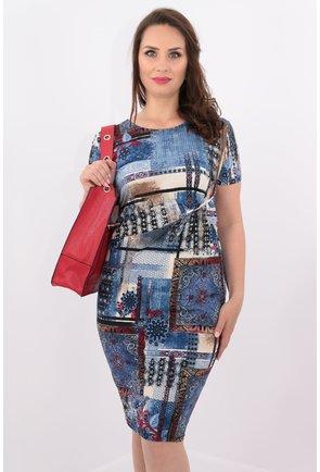 Rochie din tricot cu print albastru