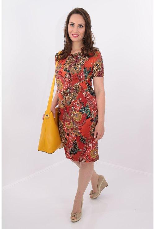 Rochie din tricot cu print caramiziu