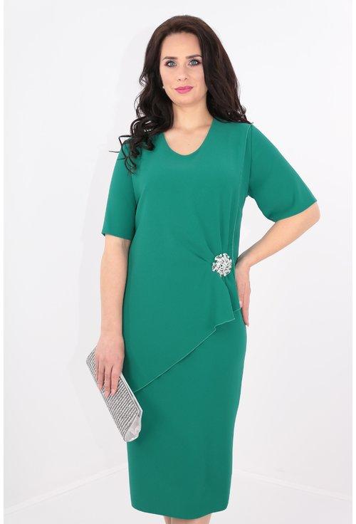 Rochie din triplu voal verde cu brosa argintie