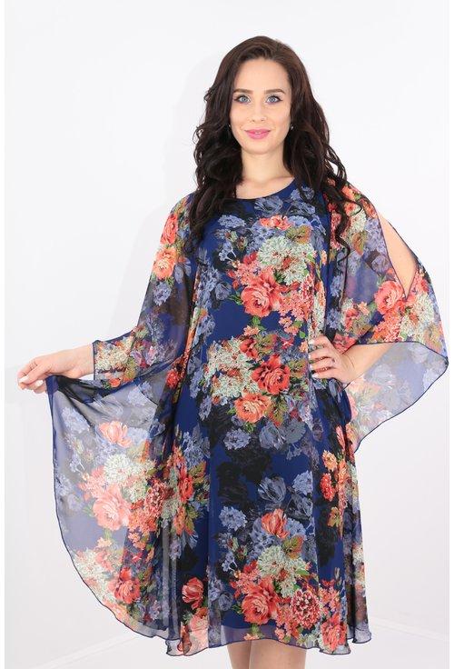 Rochie din voal albastru cu print floral multicolor