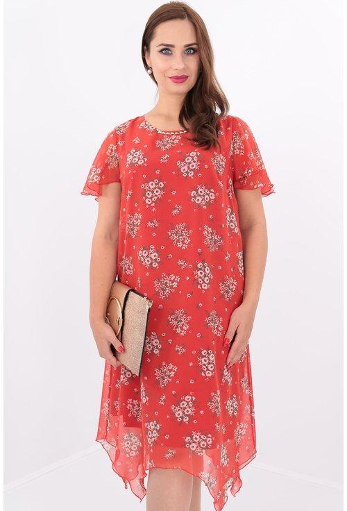 Rochie din voal caramiziu cu print floral si tiv asimetric