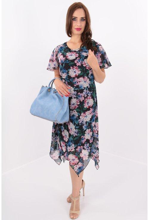 Rochie din voal cu print floral roz si tiv asimetric