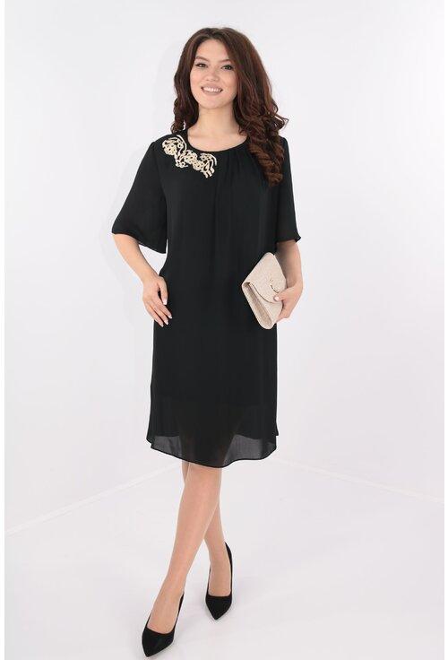 Rochie din voal negru cu broderie aurie