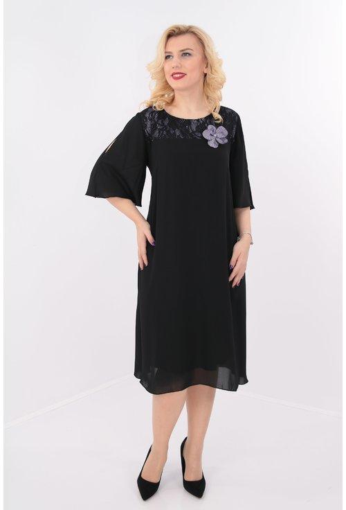 Rochie din voal negru si dantela cu sclipici lila