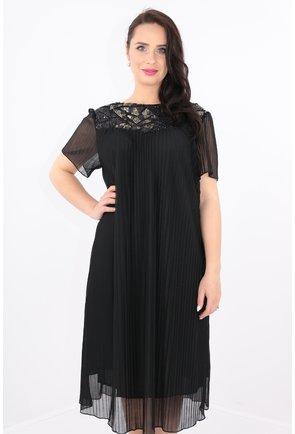 Rochie din voal plisat negru cu platca cu paiete