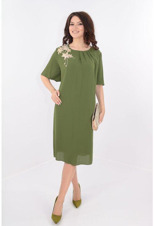 Rochie din voal verde cu broderie aurie