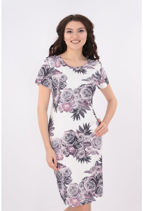 Rochie dreapta alba cu trandafiri lila