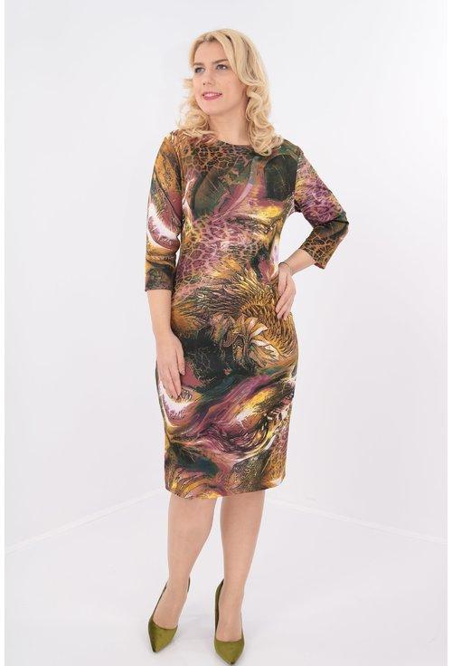 Rochie dreapta cu imprimeu tomnatic