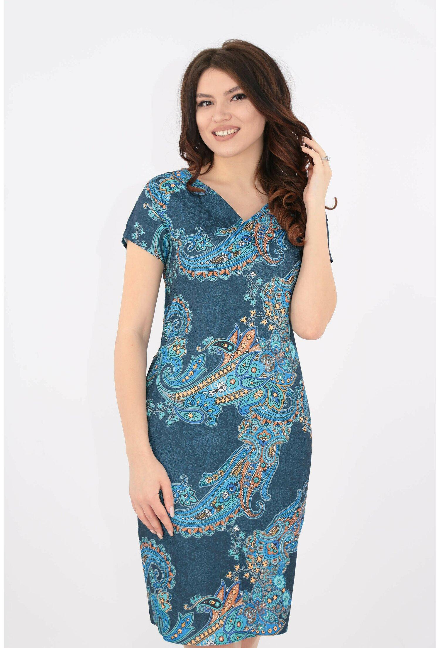 Rochie dreapta cu print albastru