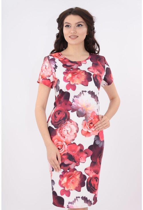 Rochie dreapta cu trandafiri rosii