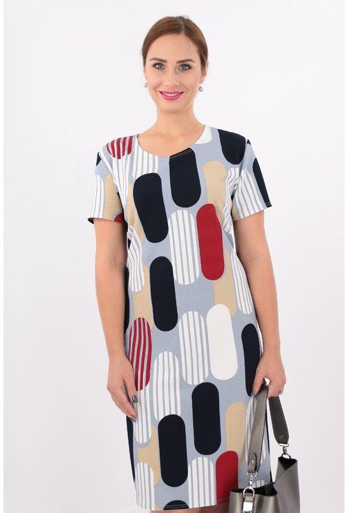 Rochie dreapta din jerse cu print geometric multicolor