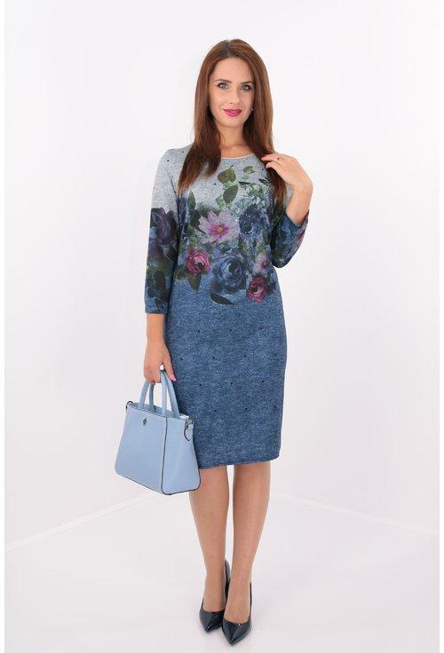 Rochie dreapta gri-albastra cu print floral