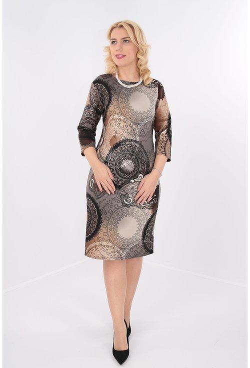 Rochie dreapta maro cu print abstract