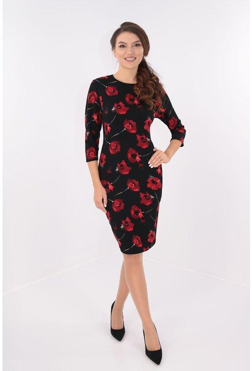 Rochie dreapta neagra cu maci rosii