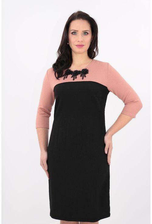 Rochie dreapta neagra si roz