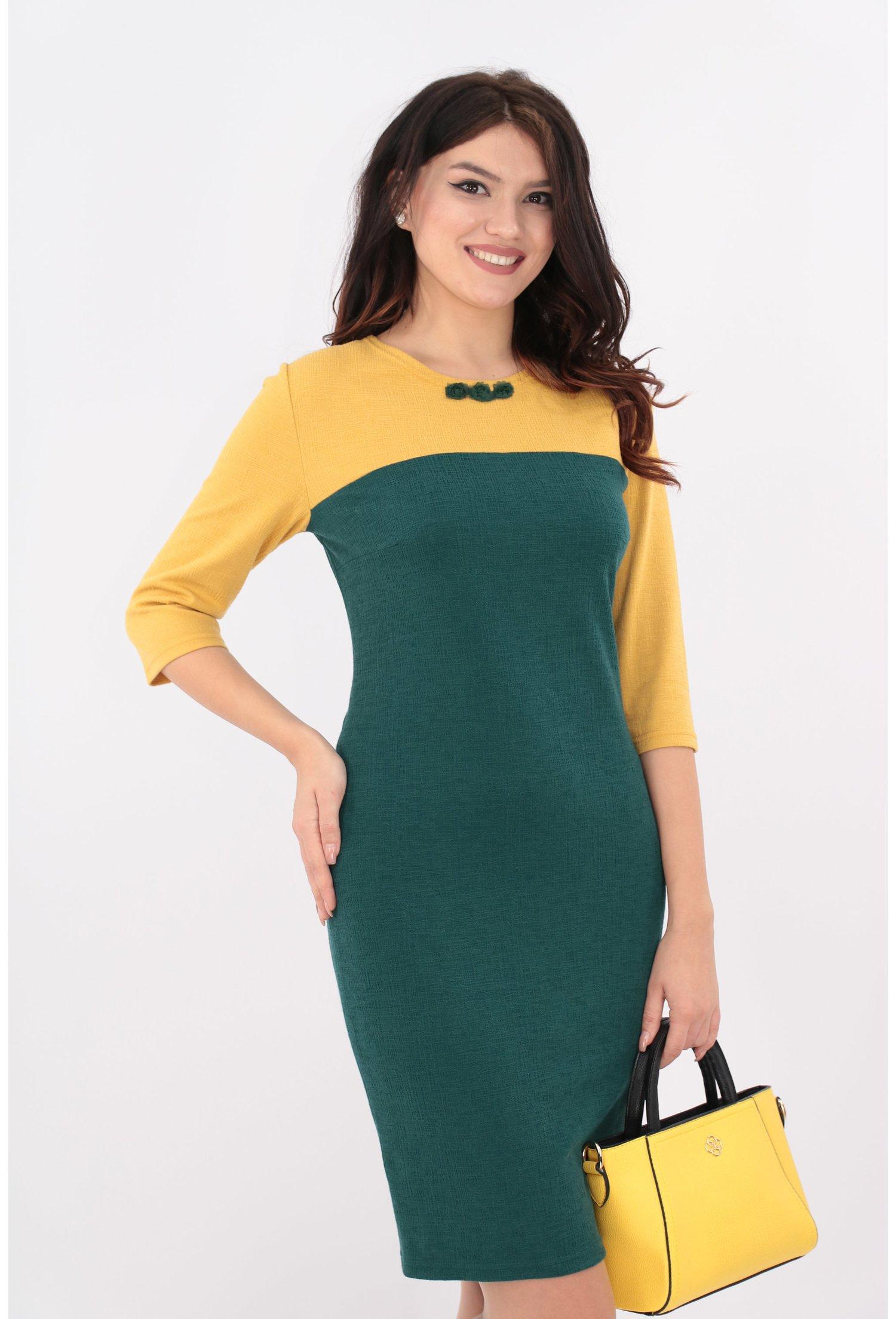 Rochie dreapta verde si mustar