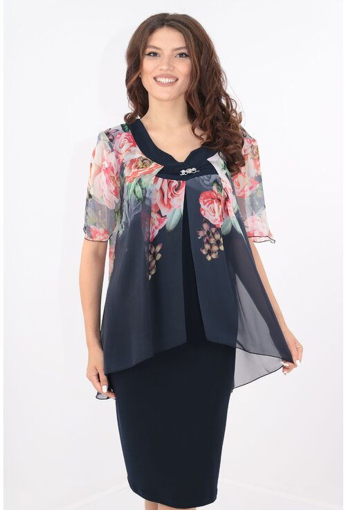 Rochie eleganta bleumarin cu print floral maxi