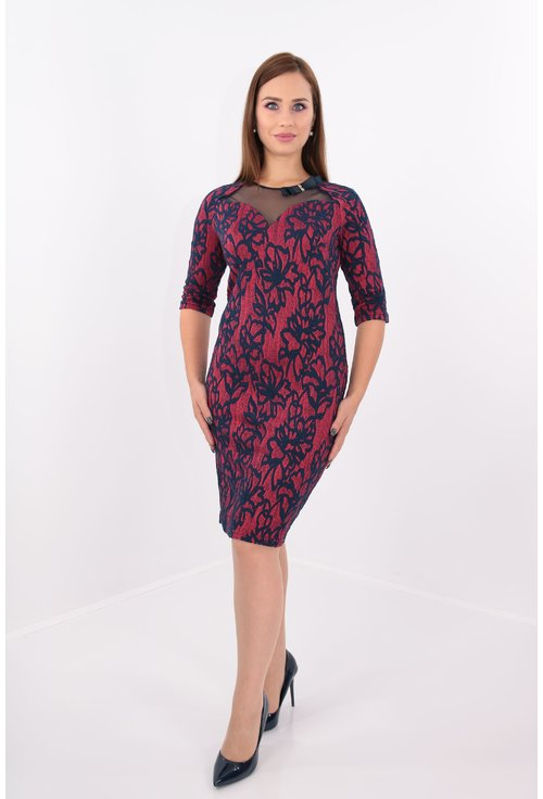 Rochie eleganta din brocard elastic corai
