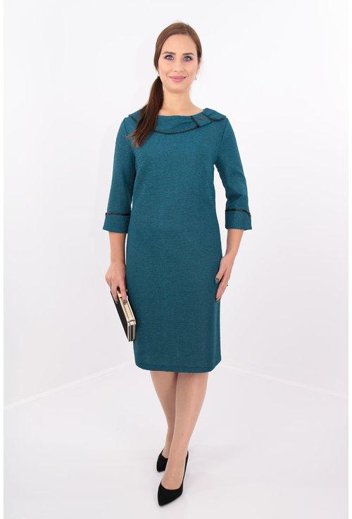 Rochie eleganta din brocard elastic turcoaz