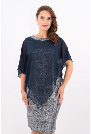 Rochie eleganta din stofa bleumarin-argintie si voal bleumarin