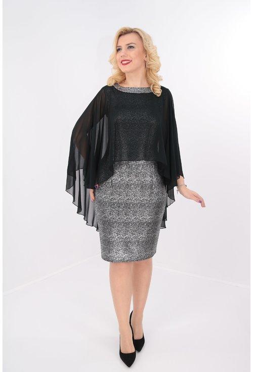 Rochie eleganta din stofa neagra-argintie si voal negru