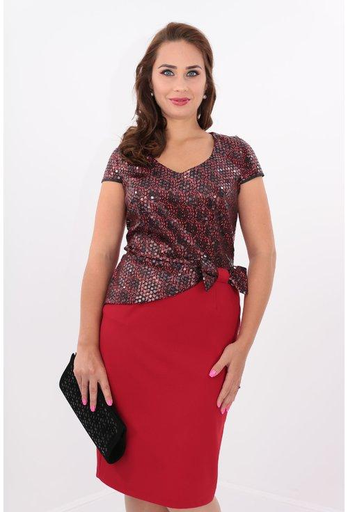 Rochie eleganta din stofa subtire rosie si paiete