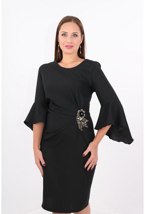 Rochie eleganta neagra cu broderie