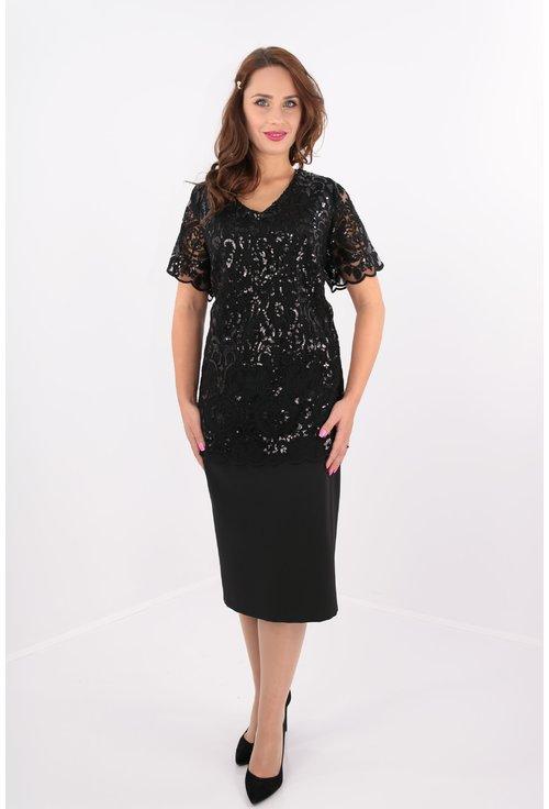 Rochie eleganta neagra din dantela cu paiete