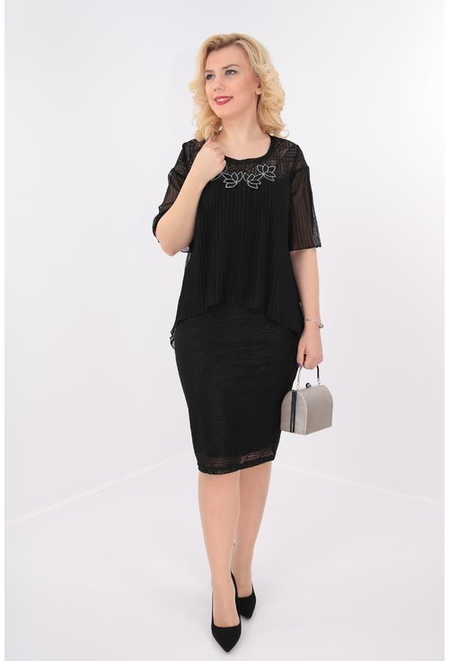 Rochie eleganta neagra din dantela si voal plisat