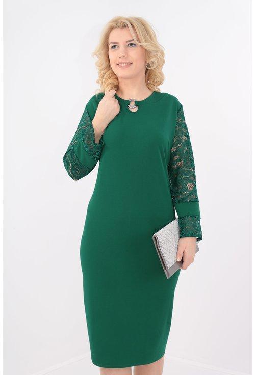 Rochie eleganta verde cu maneci din dantela