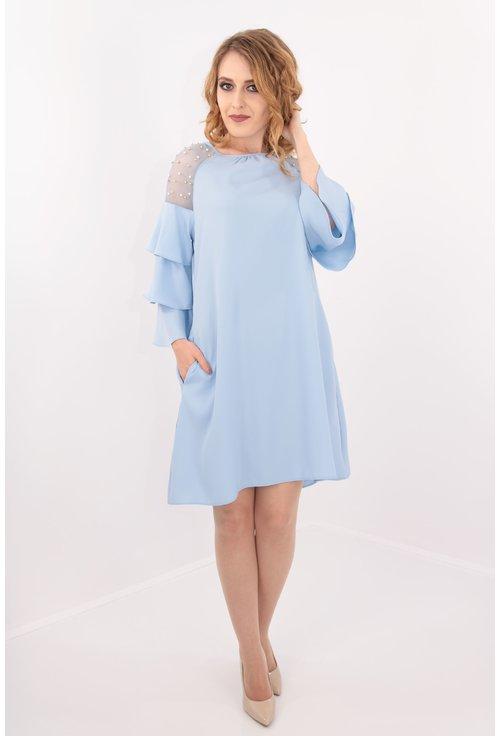Rochie lejera bleu cu perle