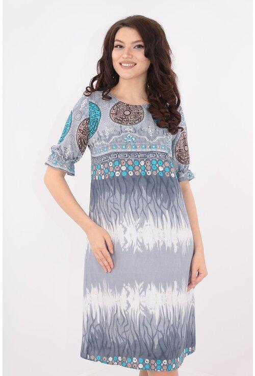 Rochie lejera din bumbac cu print bleu