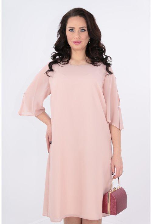 Rochie lejera din voal roz-pudra