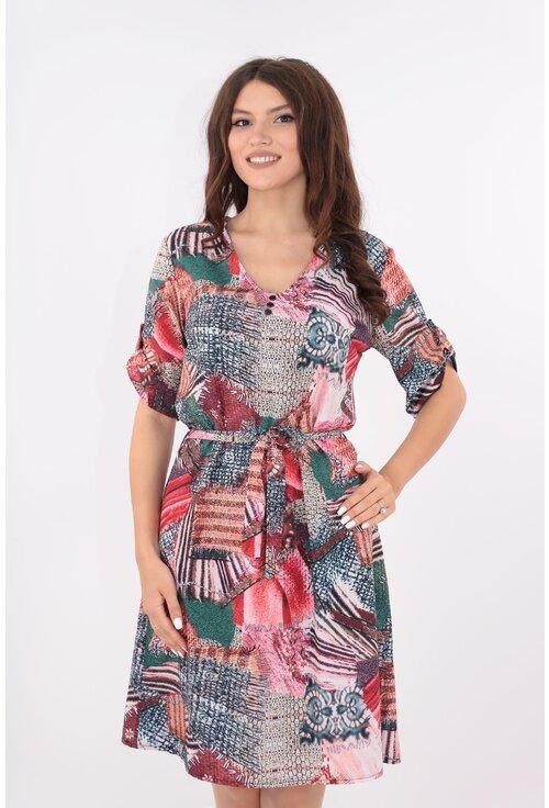 Rochie lejera multicolora cu cordon in talie