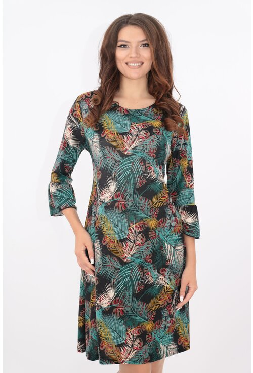 Rochie lejera verde cu print exotic multicolor