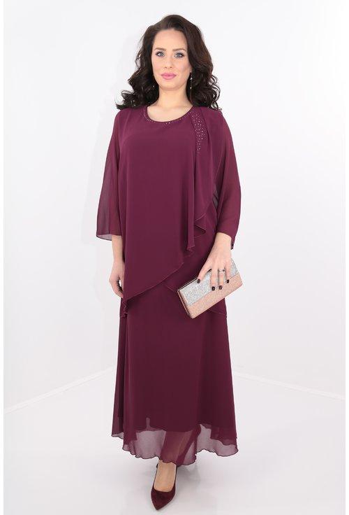 Rochie lunga violet cu voal drapat pe umeri